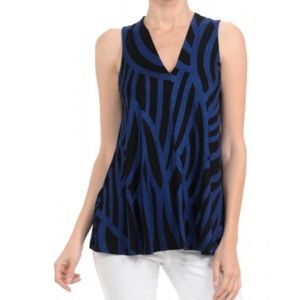 Hourglass Lilly V Neck Tunic Top-Navy/Black NWT